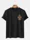 Mens Funny Pineapple Printed Cotton Round Neck Casual Short Sleeve T-Shirts - Black