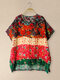 Vintage Print Short Sleeve O-neck Women Casual T-shirt - Red