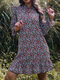 Long Sleeve Ruffle V-neck Knotted Women Floral Print Dress - Purple