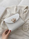 Stylish Design Textured Hardware Pearl Chain Flap Magnetic Button Shoulder Bag - White