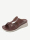 Women Flowers Carved Hollow Decor Casual Slippers Comfy Lightweight Wedges Sandals - Red
