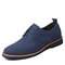 Men Microfiber Leather Round Toe Oxfords Lace-up Casual Shoes - Blue