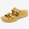 LOSTISY Women Double Buckle Strap Slip On Wedges Slippers Slide Sandals - Yellow