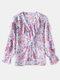 Floral Print Chiffon V-neck Ruffle Long Sleeve Casual Blouse For Women - Purple