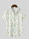 Mens All Over Floral Plant Printing Lapel Holiday Short Sleeve Shirts - White