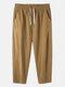 Mens 100% Cotton Breathable Drawstring Elastic Waist Sport Jogger Pants - Khaki