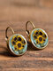 Vintage Flower Pattern Women Earrings Glass Printed Pendant Earrings Ear Hooks - #03