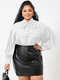 Solid Color Puff Sleeve Knotted Long Sleeve Casual Blouse for Women - White