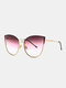 Unisex Metal Cat-eye Frame Hollow Bridge Colorful Lens Anti-UV Sunglasses - #01