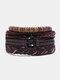 4個の多層レザーメンズブレスレットセット手織りツリーレターレディースビーズブレスレット - #25