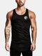 Mens Simple Solid Color Casual Breathable Sleeveless Tank Top - Black