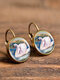 Vintage Round Glass Pendant Earrings Animal Pattern Cats Dogs Women Earrings - #12