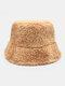Women Tie-dye Mix Color Lamb Fur Warm Casual Cute Bucket Hat - Khaki