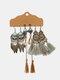 3 Pcs Vintage Irregular Women Earrings Set Drop-Shape Hollow Flower Hand-Woven Tassel Earrings - #09