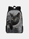 Women Oxford Large Capacity Cat Pattern Printing Backpack - Gray