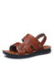 Men Comfy Microfiber Leather Outdoor Soft Sole Two Ways Sandals - Brown