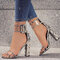 Women Solid Color Chunky Heels Bukcle Sandals - Leopard