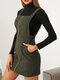 Solid Color Zip Front Casual Straps Mini Dress With Pocket - Green