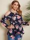 Asymmetrical Floral Print Off Shoulder Long Sleeve Plus Size Blouse - Navy