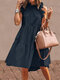 Solid Color Ruffled Collar Sleeveless Casual Pleated Dress - Navy Blue