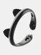 Cartoon Cat Paw Footprint Women Ring Cute Adjustable Open Cat Ears Ring Jewelry Gift - Black