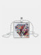Vintage Square Glass Printed Women Necklace Colored Horse Pendant Sweater Chain Jewelry Gift - Silver