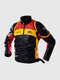 Mens Motorcycle Colorblock Pattern Back Print PU Leather Fit Stand Collar Jackets - Black