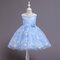 Girl's Embroidered Flower Tulle Princess Wedding Birthday Dress For 4-12Y - Blue