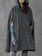 Solid Color Button Long Sleeve Casual Cape Coat for Women - Gray