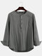 Plus Size Mens Solid Cotton Casual Long Sleeve Henley Shirts With Pocket - Gray