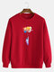 Mens Colorful Planet Astronaut Print Cotton Casual Crew Neck Pullover Sweatshirts - Red