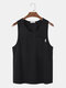 Mens Solid Color Chest Pocket Crew Neck Sleeveless Casual Tank Top - Black