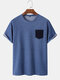 Mens 100% Cotton Contrast Patched Pocket Casual Short Sleeve T-Shirts - Blue