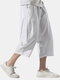 Mens Cotton Linen Chinese Style Loose Drawstring Cropped Pants - White