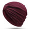 Womens Breathable Comfortable Pearl Headpiece Casual Elastic Beanie Hats Muslim Pile Heap Cap - Red