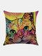 Colorful Animal Pattern Linen Cushion Cover Home Sofa Art Decor Throw Pillowcase - #02