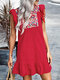 Ethnic Pattern Embroidery Sleeveless Half Open Collar Vintage Dress - Red