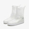 Unisex Thicken Waterproof Slip Resistant Clear Rain Shoes Foot Cover Protective - White