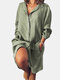 Long Sleeve Loose Casual Solid Color Dress For Women - Green