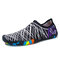 Men Slip On Stretch Knitted Fabric Quick Dry Outdoor Upstream Water Shoes - Black White