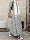 Bohenmia Print A-line Long Sleeve Casual Plus Size Dress - White