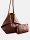 Frauen Vintage Öl Wachs Leder Große Kapazität 2 PCS Einkaufstasche - braun