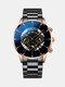 Business Men Watch Steel Band Waterproof Calendar Quartz Watch - Yellow Needle Brown Shell Black