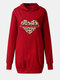 Love Leopard Print Long Sleeve Plus Size Long Hoodie with Pockets - Red