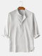 Men 3/4 Sleeve Striped Casual Henley Shirts - White