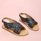 Girls Fashion Colorful Striped Cross Band Back Buckle Strap Beach Sandals - Black