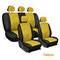 9Pcs/Set PU Leather Car Seat Detachable Covers Front Bucket Full Set Protector - Yellow