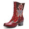 SOCOFY Retro Flower Embroidery Genuine Leather Splicing Comfy Casual Chunky Heel Short Boots - Red