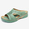 LOSTISY Women Hollow Out Comfy Wearable Wedges Slippers - Green