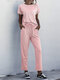 Plain O-neck Tee & Drawstring Pants Sports Two-piece Suit - Pink